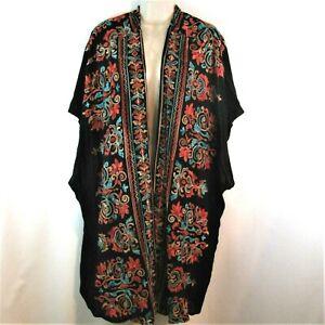 Umgee + Women's Duster Kimono Sz. 1XL / 2XL Embroidery Boho Open Front Black PE3