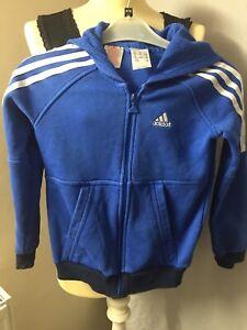 Adidas Boys Girls  Hoodie Jacket 7-8 Blue