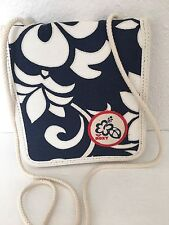Roxy Organizer Wallet Bag Crossbody Canvas Floral Navy White Designer Fashion