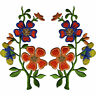 Pair of Orange Blue Flower Patches Iron Sew On Flowers Embroidered Patch Badge