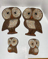 Vintage HOMCO Owl Wall Plaques Set of 4 Home Interior Foam Brown Cream