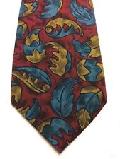 BALLY MENS TIE 3.5 X 58 BURGUNDY BLUE AND BROWN