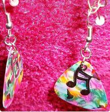Music Note Teardrop Silver Plated Jewelry Rainbow Tie Dye Guitar Pick Earrings