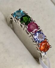 Jeliso Fire Opal, Ruby,Tanzanite, Diopside, Paraiba Apatite Platinum On Silver Q