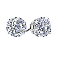 1.00 CARAT ROUND SOLITAIRE BASKET SETTING STUD EARRINGS PUSH BACK 14K WHITE GOLD