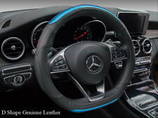 Real Leather Steering Wheel Cover D Shape Sports Blue Mercedes-Benz C43 VW Golf