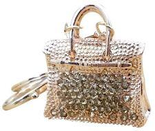 "Handbag Charm""h"" Bling Crystals Rhinestone Keychain Ring Holder Elegant Gold"