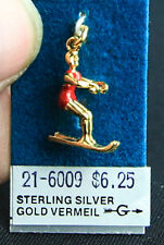 WATER SKIING CHARM STERLING SILVER W/ GOLD VERMEIL RED SUIT 3D CHARM