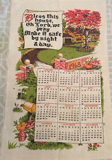 1968 Vintage Calendar Tea Towel Bless This House Fall