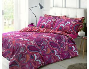 Paisley Bright Pink Super King Size Duvet Cover Set With Pillowcases