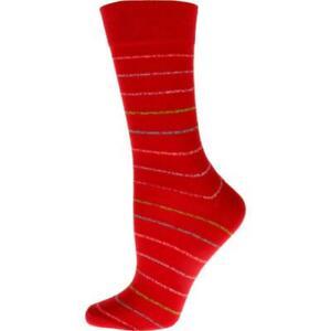 Women's Crew Cotton Blend Socks,  Vibrant Colorful Striped Soft Touch Socks