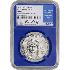 2016 American Platinum Eagle 1 oz $100 - NGC MS69 First Day Issue Moy Blue Core