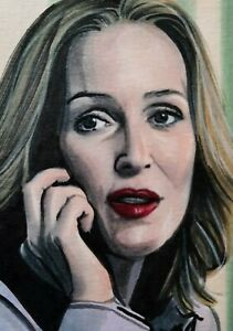 Original Gillian Anderson plays Dana Scully X-files aceo sketch card  drawing