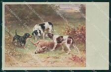 Reichert Hunting Dog Dachsund Deer Cervo Caccia MM 293 postcard cartolina QT7077