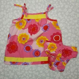 Hanna Andersson Pink Yellow Orange Floral Sundress Bloomers Size 60 3-6 mos