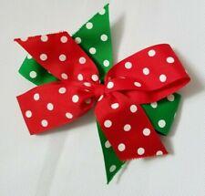 "Christmas Hairbow Bow Green Red Polka Dot 6"" Grosgrain Ribbon"