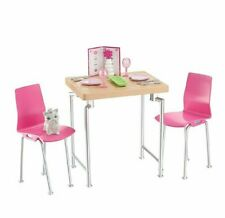 MATTEL FURNITURE/ DOG/ ACCESSORIES TABLE/CHAIRS/DISHES FOR/FITS BARBIE DOLLHOUSE