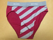 Vtg 80s Brittania Striped Cotton Hi Cut Brief Underwear L