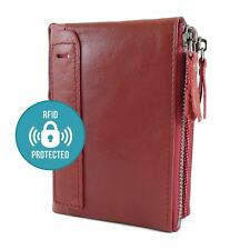 Mens 100% Genuine Soft Red Leather Wallet Card Holder with Zip RFID Protection