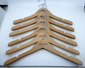 New Ralph Lauren Wooden Hangers Lot of 6 Shirts Suits Coats Blue Logo Thick 15.5
