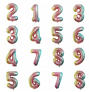 """40"""" Giant Rainbow Foil Number Balloons Party 1st/16/18/21/30/40/50/60/70/80th"""