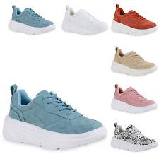 Damen Plateau Sneaker Keilabsatz Schnürer Profil-Sohle Schuhe 836070 Trendy Neu