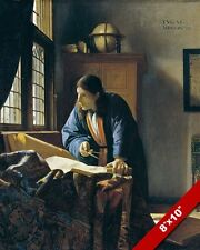 THE GEOGRAPHER MAP CARTOGRAPHER JOHANNES VERMEER PAINTING ART REAL CANVAS PRINT