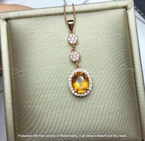 "2.40Ct Oval Cut Citrine Diamond Journey Pendant 14K Rose Gold Over 18""Free Chain"