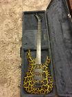 Kramer Baretta 422S Yellow Fire Crackle 4-String Bass Guitar Reverse Headstock