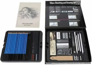 50pc H & B Colored Pencils Set Sketching Drawing Kit Art Supplies Paint Graphite