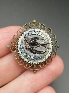 Rare Antique Micro Mosaic Bird Brooch Edwardian