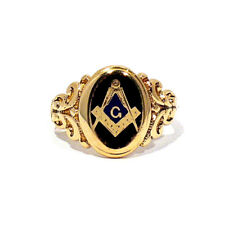 SOLID 10K YELLOW GOLD MASONIC RING ~ SIZE 10 1/4