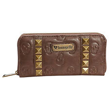 Loungefly Skull Brown Pyramids Zip Around Wallet NEW IN STOCK