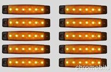 10 PEZZI ARANCIO AMBRA 24V 6 LED LATERALI FRECCE LAMPADA CAMION CAVO