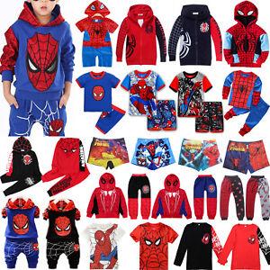 Kinder Jungen Jumper Hoodie Pullover Spiderman T-Shirt Jacke Mantel Outfits Sets