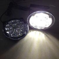 18 LED DRL Round Car Fog Light Driving Light Bright Super White DRL Spotlight*2