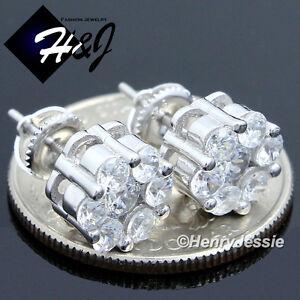 MEN WOMEN 925 STERLING SILVER ROUND 10MM ICY DIAMOND SCREW BACK STUD EARRING*E45