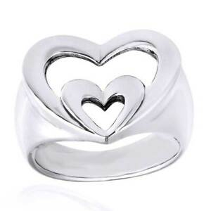 Newly Love Double Heart 14K White Gold Over Silver Fashion Ring Valentine Gifts