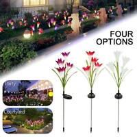 LED énergie solaire Lily fleur pieu allume chemin jardin extérieur lampes  SH