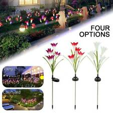 LED Solar Power Lily Flower Stake Lights Outdoor Garden Path Luminous Lamps HM