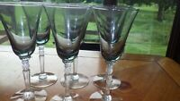 Vintage Blue Wine Glasses elegant faceted stems 6 5 oz hand blown stem