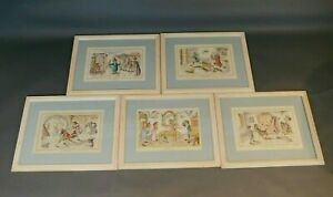 Medical Lithographs Set 5 Italian Caricature Illustrations Early 20th c. KL/ML