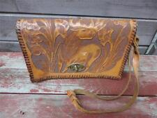 Vintage DEER & Floral Leather Tooled Handbag Purse 1970's Nice