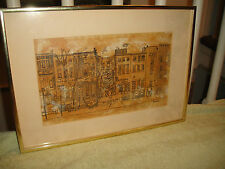 Vintage New York City Drawing Print Collapsed Building-Signed-1972-Architectural