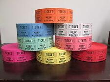 20 Rolls 2 K 50 50 Double Stub Raffle Tickets Split The Pot Mix Match 8 Colors