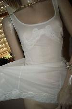 Hinreißendes Nylon Romantik Negligee Unterkleid weiß Spitze zauberhaft 40