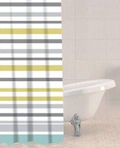 Shower Curtain Waterproof Yellow/Mustard Grey Stripe Print Bathroom New Gift