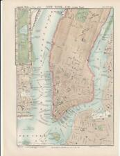 New York City Lower Part USA Map by W & A K Johnston 1875
