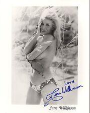 JUNE WILKINSON HAND SIGNED 8x10 PHOTO+COA         VERY SEXY BEACH POSE IN BIKINI
