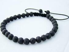 Delicate Men's Shamballa bracelet all 6mm LAVA STONE beads